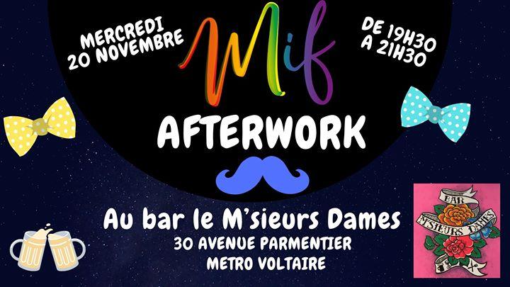 Afterwork MIF 20 Novembre en Paris le mié 20 de noviembre de 2019 19:30-21:30 (After-Work Gay)