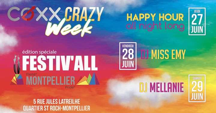 COXX CRAZY WEEK : Festiv'all a Montpellier dal 27-30 giugno 2019 (After-work Gay)