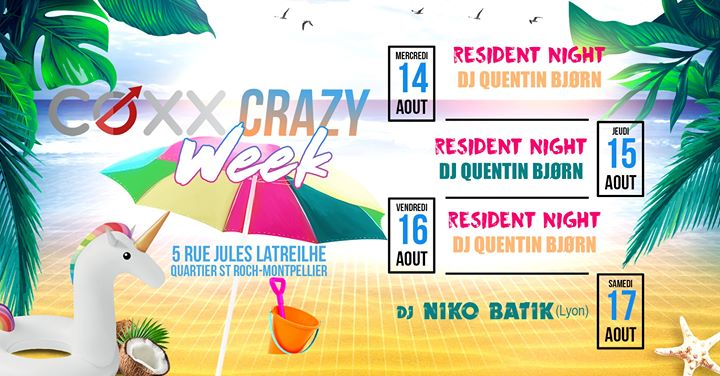 COXX Crazy Week : Beach Please en Montpellier del 14 al 19 de agosto de 2019 (After-Work Gay)