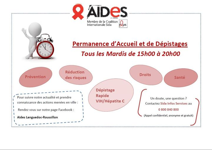 Permanence d'Accueil/Dépistage les Mardis - AIDES Montpellier in Montpellier le Tue, November 26, 2019 from 03:00 pm to 08:00 pm (Health care Gay, Lesbian, Hetero Friendly)