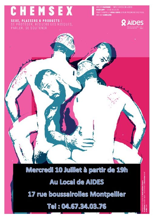 Espace Chemsex - Mercredi 10 juillet - AIDES Montpellier in Montpellier le Wed, July 10, 2019 from 07:00 pm to 10:00 pm (Health care Gay, Lesbian, Hetero Friendly)