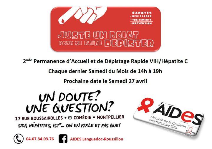 Permanence d'Accueil et Dépistages Rapides VIH/Hépatite C à Montpellier le sam. 29 juin 2019 de 14h00 à 19h00 (Prévention santé Gay, Lesbienne, Hétéro Friendly)