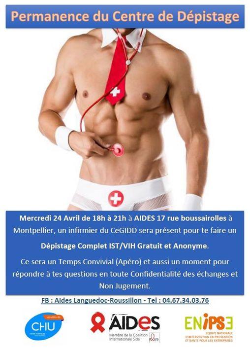 Permanence du Centre de Dépistage - Aides Montpellier à Montpellier le mer. 24 avril 2019 de 18h00 à 21h00 (Prévention santé Gay, Lesbienne, Hétéro Friendly)
