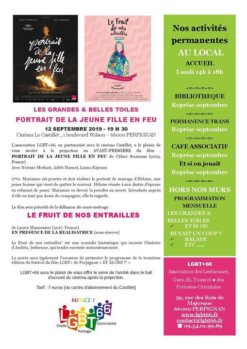 Portrait de la jeune fille en feu + Le Fruit de nos entrailles à Perpignan le jeu. 12 septembre 2019 de 19h30 à 22h30 (Cinéma Gay, Lesbienne, Trans, Bi)