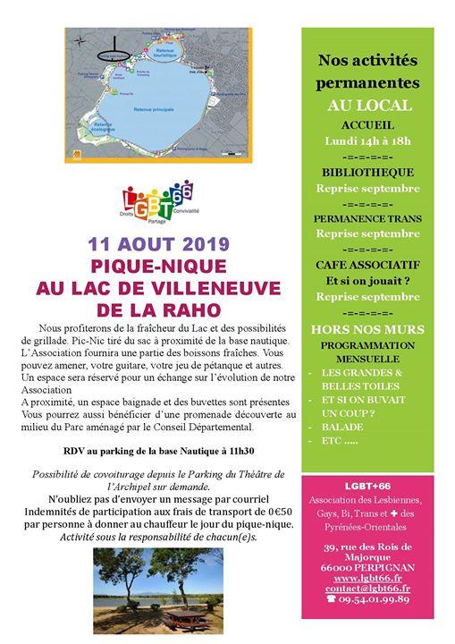 Pique-Nique Lgbt+66 à Villeneuve-de-la-Raho le dim. 11 août 2019 de 11h30 à 16h30 (Pique-Nique Gay, Lesbienne, Trans, Bi)