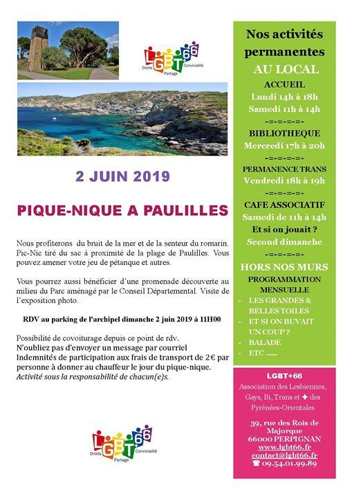 Pique-Nique à Paulilles à Port-Vendres le dim.  2 juin 2019 de 11h00 à 18h00 (Pique-Nique Gay, Lesbienne, Trans, Bi)