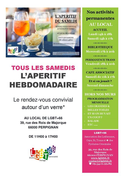 Ouverture Café Associatif Lgbt+66 in Perpignan le Sat, May 11, 2019 from 11:00 am to 02:00 pm (Meetings / Discussions Gay, Lesbian, Trans, Bi)