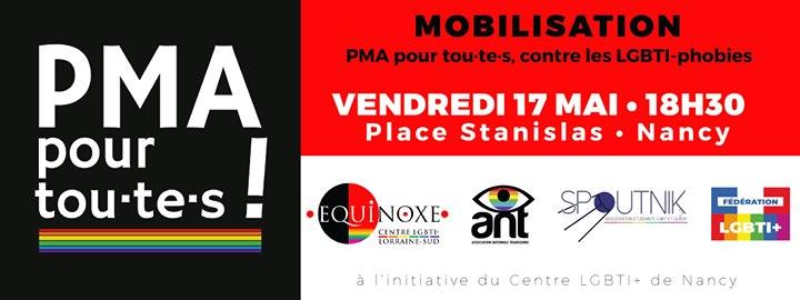 Rassemblement PMA pour tou.te.s et contre les LGBTIphobies in Nancy le Fri, May 17, 2019 from 06:30 pm to 07:30 pm (Parades Gay, Lesbian)