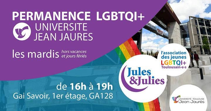 Permanence lgbtqiap+ Univ Jean Jau - Jules & Julies en Tolosa le mar 12 de noviembre de 2019 16:00-19:00 (Reuniones / Debates Gay, Lesbiana)