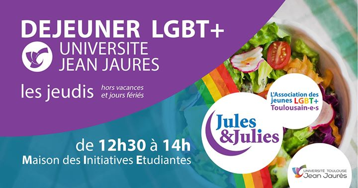 Déjeuner LGBT+ Univ Jean Jau - Jules & Julies in Toulouse le Thu, October  3, 2019 from 12:30 pm to 02:00 pm (Meetings / Discussions Gay, Lesbian)