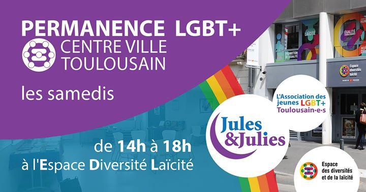 图卢兹Permanence LGBT+ Toulouse - Jules & Julies2019年 2月18日,14:00(男同性恋, 女同性恋 见面会/辩论)