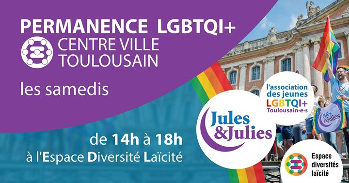 Permanence LGBT+ Toulouse - Jules & Julies in Toulouse le Sat, June 22, 2019 from 02:00 pm to 06:00 pm (Meetings / Discussions Gay, Lesbian)