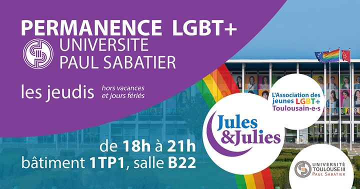 Permanence LGBT+ Univ Paul Sab - Jules & Julies in Toulouse le Thu, April 11, 2019 from 06:00 pm to 09:00 pm (Meetings / Discussions Gay, Lesbian)