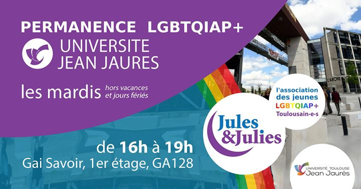 Permanence lgbtqiap+ Univ Jean Jau - Jules & Julies a Tolosa le mar 10 dicembre 2019 16:00-19:00 (Incontri / Dibatti Gay, Lesbica)