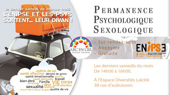 Permanence d'accueil Psychologique / Sexologique in Toulouse le Sa 25. Mai, 2019 14.00 bis 16.00 (Begegnungen / Debatte Gay, Lesbierin, Bear)