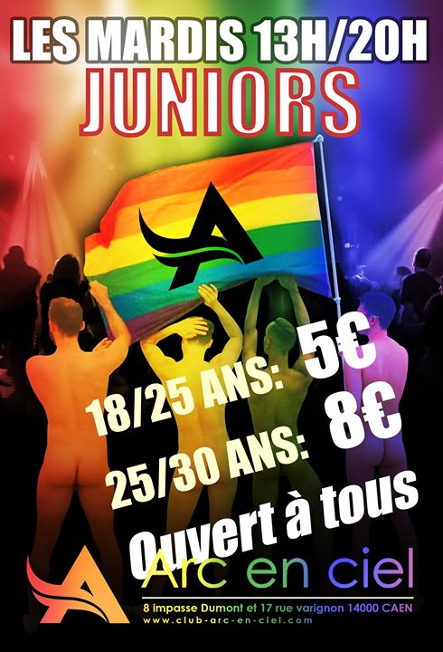 Les Mardis Juniors Masculins à Caen le mar. 15 octobre 2019 de 13h00 à 20h00 (Sexe Gay Friendly)