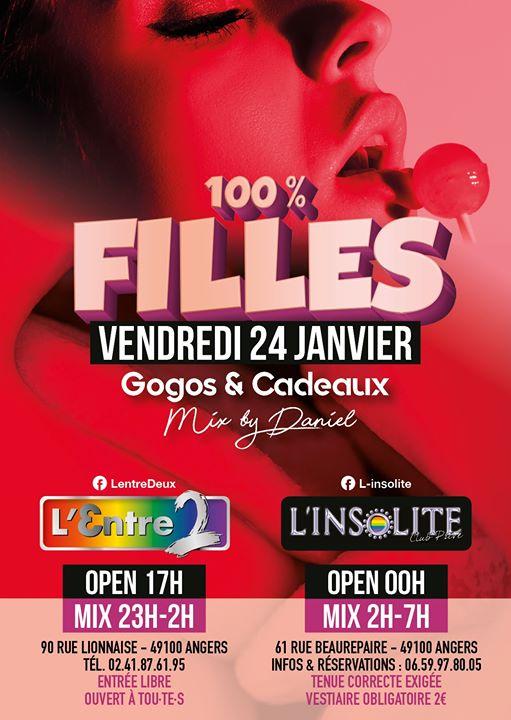 Angers (49) | Soirée 100% Filles à L'Entre 2 et à L'Insolite ! in Angers le Fri, January 24, 2020 from 05:00 pm to 07:00 am (After-Work Lesbian Friendly)