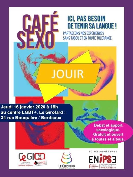 Café Sexo : Jouir in Bordeaux le Do 16. Januar, 2020 18.00 bis 20.00 (Gesundheitsprävention Gay, Lesbierin, Transsexuell, Bi)