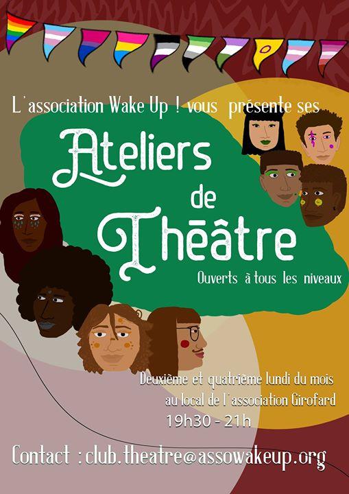Ateliers théâtre de Wake Up! a Bordeaux le lun 27 maggio 2019 19:30-21:00 (Teatro Gay, Lesbica)