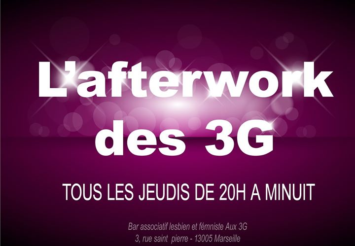 L'afterwork des 3G in Marseilles le Thu, January 30, 2020 from 08:00 pm to 11:45 pm (After-Work Lesbian)