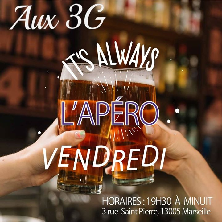 L'apéro DES 3G in Marseilles le Fri, July  5, 2019 from 08:00 pm to 12:00 am (After-Work Lesbian)