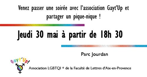 Aix-en-ProvenceSoirée rencontre de Gayt'Up2019年 6月22日,18:30(男同性恋, 女同性恋, 变性, 双性恋 见面会/辩论)