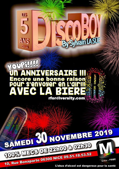 Discoboy, happy 5 ans in Nice le Sat, November 30, 2019 from 07:00 pm to 02:30 am (After-Work Gay)