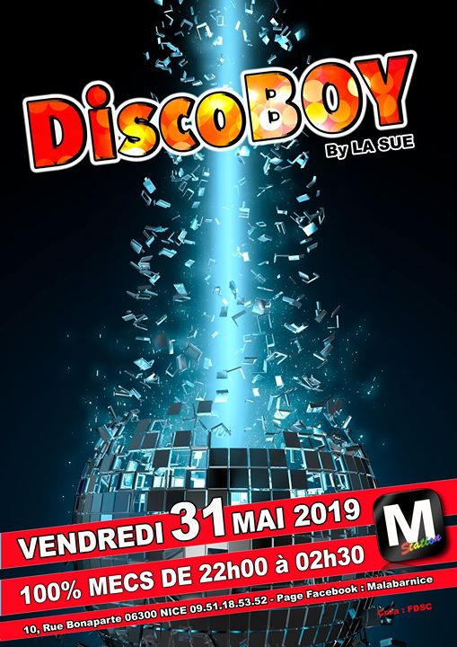 Discoboy à Nice le ven. 31 mai 2019 de 22h00 à 02h30 (After-Work Gay)