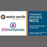 Permanence d'accueil à Nice à Nice le sam. 10 novembre 2018 de 16h00 à 18h00 (Rencontres / Débats Gay, Lesbienne)