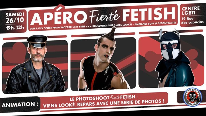 Apero Fierté-Fetish Photoshoot 26/10 Centre LGBTI Lyon in Lyon le Sat, October 26, 2019 from 07:00 pm to 10:00 pm (After-Work Gay)