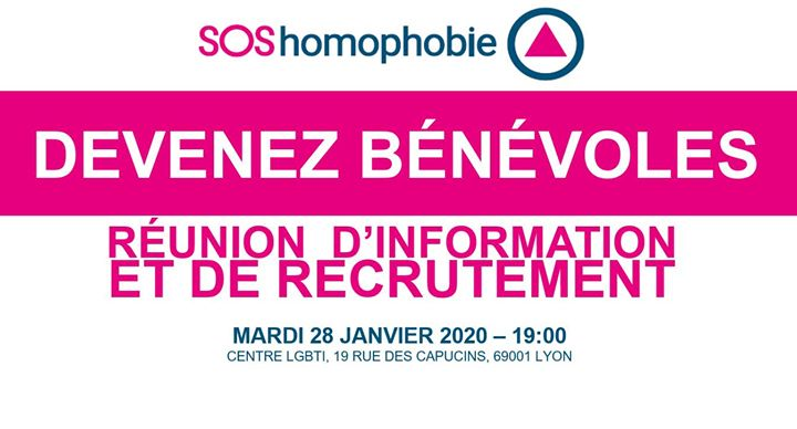 Devenir bénévole? Bonne idée! in Lyon le Tue, January 28, 2020 from 07:00 pm to 09:30 pm (Meetings / Discussions Gay, Lesbian, Trans, Bi)