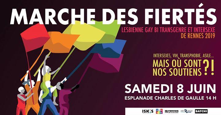 Marche des Fiertés LGBTI de Rennes 2019 à Rennes le sam.  8 juin 2019 de 11h00 à 19h00 (Parades / Défilés Gay, Lesbienne, Trans, Bi)