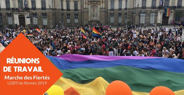 Réunions de travail : Marche des Fiertés LGBTI de Rennes 2019 in Rennes le Mon, May 27, 2019 from 07:30 pm to 11:00 pm (Meetings / Discussions Gay, Lesbian, Trans, Bi)