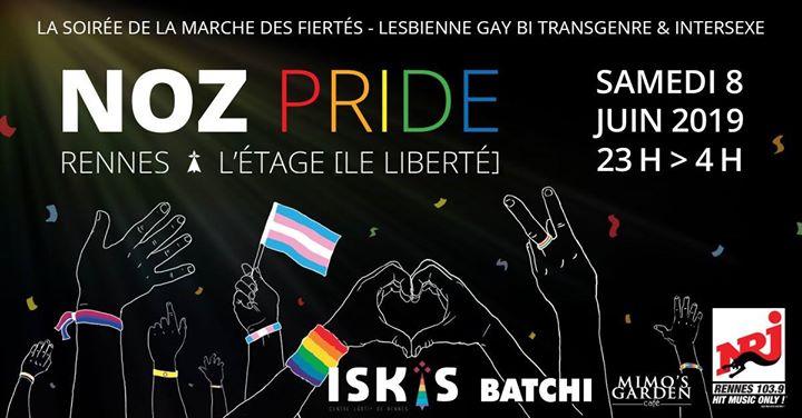 Noz Pride 2019 à Rennes le sam.  8 juin 2019 de 23h00 à 04h00 (Clubbing Gay, Lesbienne, Trans, Bi)