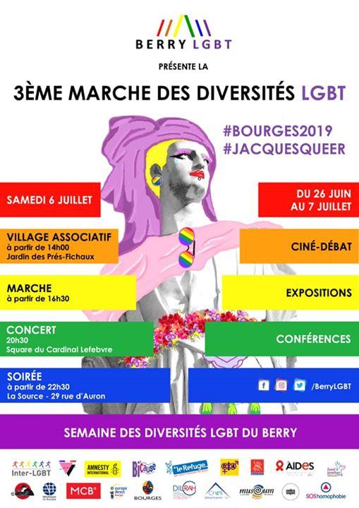 Bourges2019 / Troisième Marche des Diversités LGBT du Berry à Bourges le sam.  6 juillet 2019 de 14h00 à 22h30 (Parades / Défilés Gay, Lesbienne, Trans, Bi)