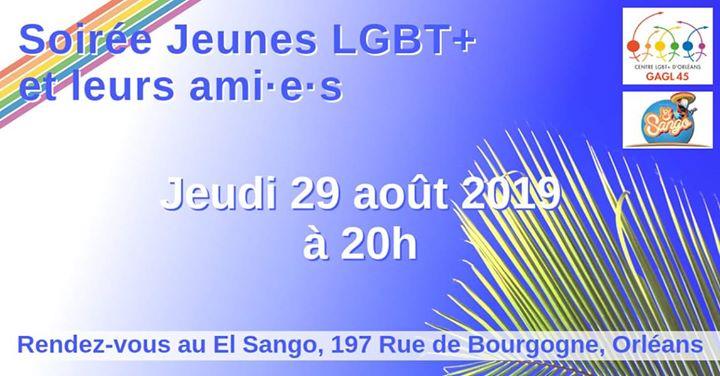 Soirée Jeunes LGBT+ et leurs ami•e•s in Orléans le Thu, August 29, 2019 at 08:00 pm (After-Work Gay, Lesbian)