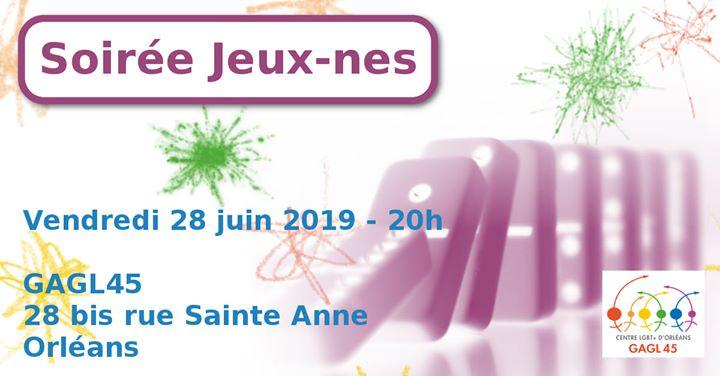 Soirée Jeux-nes em Orléans le sex, 28 junho 2019 às 20:00 (Reuniões / Debates Gay, Lesbica)
