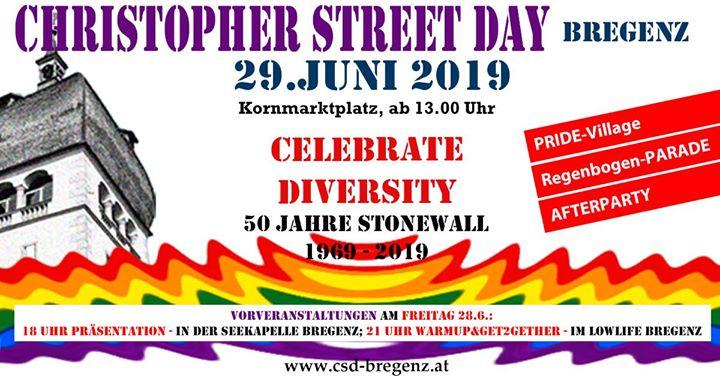 CSD Bregenz PRIDE à Bregenz du 28 au 30 juin 2019 (Clubbing Gay, Lesbienne, Trans, Bi)
