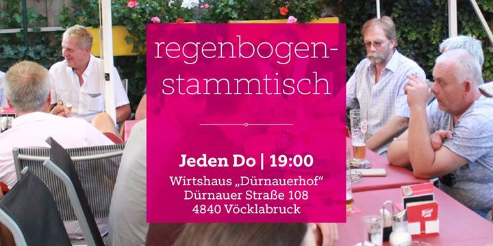 Regenbogenstammtisch in Vöcklabruck le Thu, November 21, 2019 from 07:00 pm to 10:00 pm (Meetings / Discussions Gay, Lesbian, Trans, Bi)