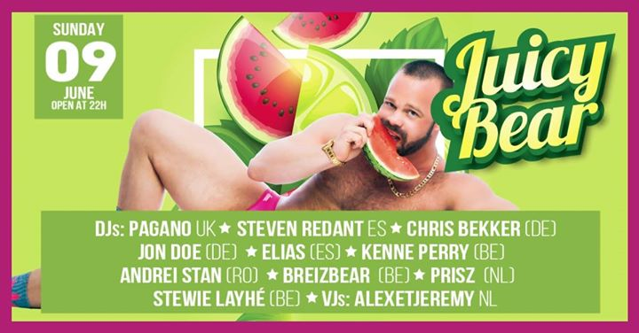 Juicy Bear in Brussels le Sun, June  9, 2019 from 10:00 pm to 12:00 pm (Clubbing Gay)