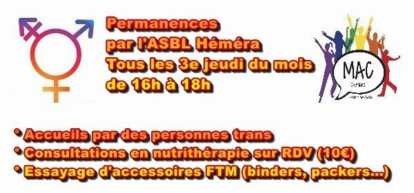 Permanences Héméra in Charleroi le Thu, October 17, 2019 from 04:00 pm to 06:00 pm (Meetings / Discussions Gay, Lesbian, Trans, Bi)