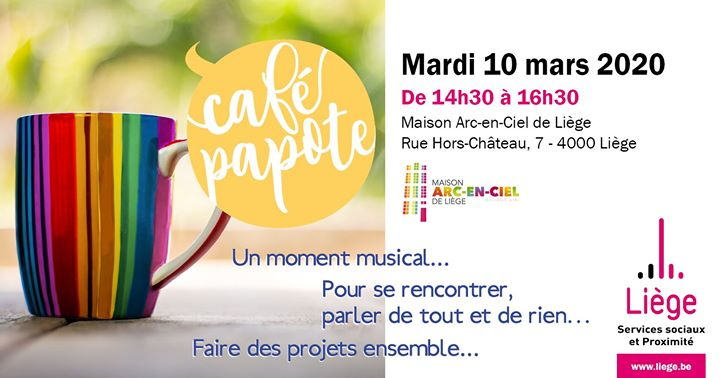 Café papote de la Ville de Liège in Lüttich le Di 10. März, 2020 14.30 bis 16.30 (Begegnungen Gay, Lesbierin, Transsexuell, Bi)