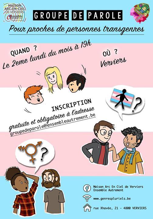 Groupe de parole pour proches de personnes transgenres. in Verviers le Mo 13. Januar, 2020 19.00 bis 21.00 (Begegnungen Gay, Lesbierin, Transsexuell, Bi)