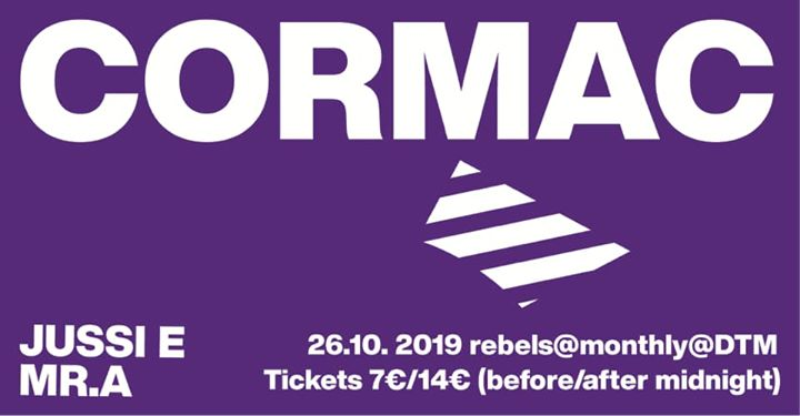 Rebels #18 with Cormac 26.10.2019 at dtm in Helsinki le Sat, October 26, 2019 from 10:00 pm to 06:00 am (Clubbing Gay)