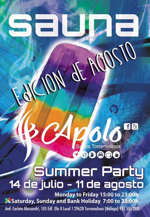 Sauna Apolo Summer Party - Edición de Agosto em Torremolinos le dom, 11 agosto 2019 16:00-23:00 (Sexo Gay)