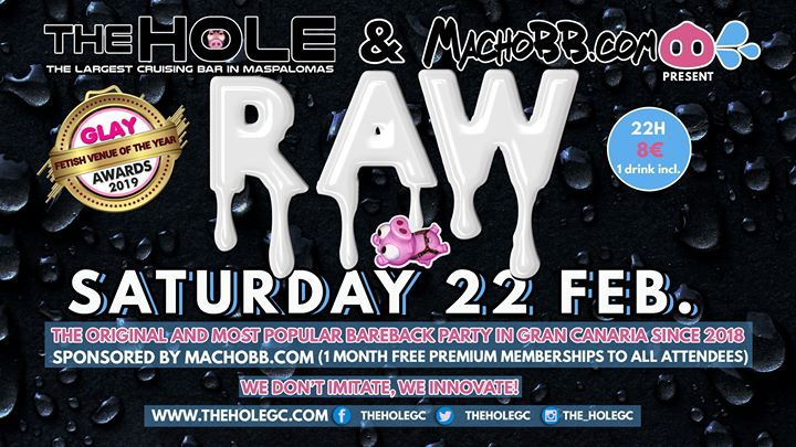 Raw by MachoBB in Playa del Ingles le Sat, February 22, 2020 from 10:00 pm to 04:00 am (Sex Gay)