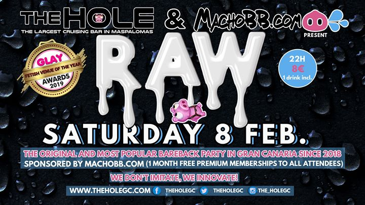 Raw by MachoBB in Playa del Ingles le Sat, February  8, 2020 from 10:00 pm to 04:00 am (Sex Gay)