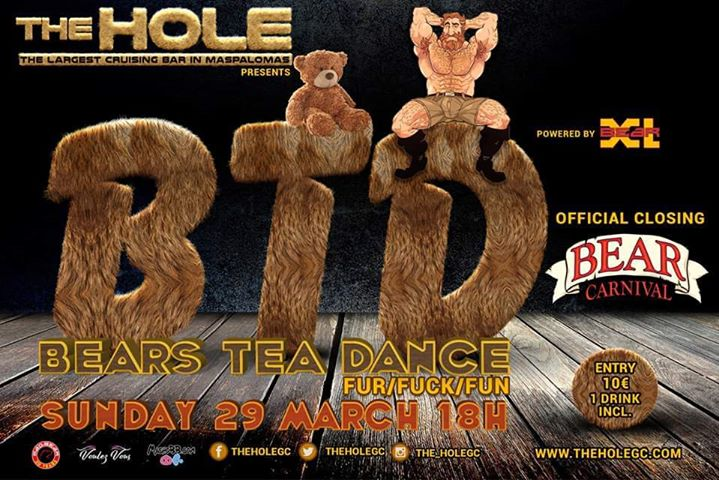 BTD by BearXL - Bear Carnival Closing Party in Playa del Ingles le Sun, March 29, 2020 from 06:00 pm to 04:00 am (Sex Gay)