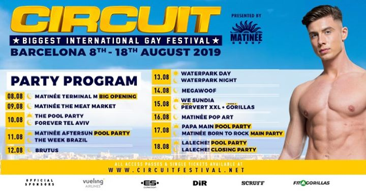 Circuit Festival 2019 - Official Event in Barcelona from  8 til August 19, 2019 (Festival Gay)