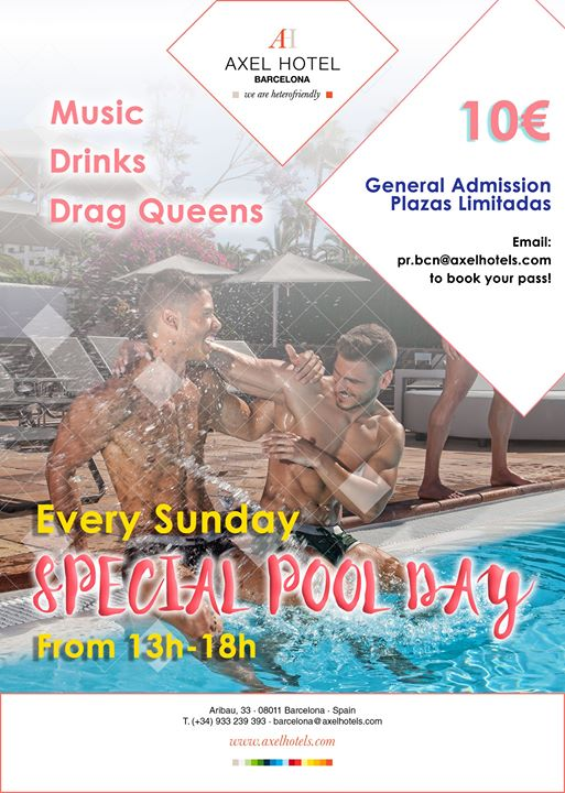 巴塞罗那Special Pool Day! Every Sunday!2019年 1月18日,13:00(男同性恋, 女同性恋, 异性恋友好 下班后的活动)
